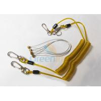 Quality Safety 5.9'' Steel Inside Plastic Coil Lanyard Transparent Yellow PU Coating for sale