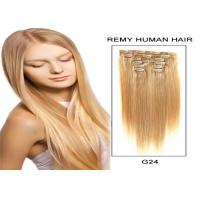 Quality Double Drawn / Wefted Remy Human Hair Weave , Smooth Remy Clip In Hair Extensions for sale