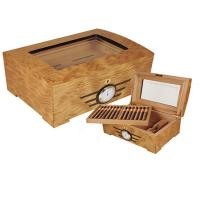 Quality wooden cigar humidors, hinge & clasp, cedar wood pallet, with lock for sale
