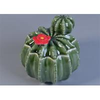 Quality Green Cactus Shaped Ceramic Candle Holder With Lids For Home Fragrance Decor for sale