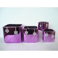 Quality Purple Electroplate Ceramic Indoor Plant Pots , Square Ceramic Pots For Plants 10 X 10 X 10 Cm for sale