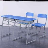 Grey Color Student Desk And Chair Set / Classroom Desk And Chair