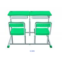 Quality Mint Green Student Desk And Chair Set HDPE Iron Adjustable School Furniture for sale