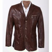 Buy Customized Size Black / Dark Red and Knitting Mens PU Leather Blazers FOR Mature Man at wholesale prices