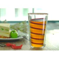 Quality Elegant Double Wall Borosilicate Glass Ribbon Decal Inside Decoration Glass Juice Cups for sale