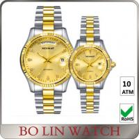 Quality Value Mens 18k Gold Plated Watch , 316L Stainless Steel Quartz Gold Watches For Him And Her Set for sale