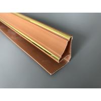 Buy 5.95m Length Brown PVC Extrusion Profiles With Golden Lines Top Corner Type at wholesale prices