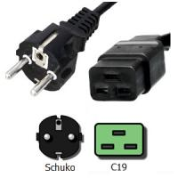 Quality Schuko C19 3 Wire Male to Female Power Cord 16A 250V Custom Length for sale