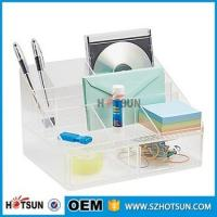 Quality office clear acrylic desk organizer 2 tier 3 tier acrylic pen tray multi compartment for sale