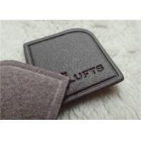 Quality Nigger - Brown Veined Embossed Leather Patches High Frequency Brand Logo Sewing On Garment for sale