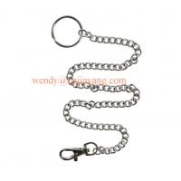Quality jiayang high shiny nickle color metal link chain with key ring and snap hook for sale