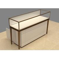 Quality Easy Install Custom Glass Display Cases Beige Wooden Stainless Steel Frame for sale