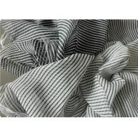 Quality Black And White Striped Polyester Fabric , Garment Curtain Elastic Polyester Fabric for sale