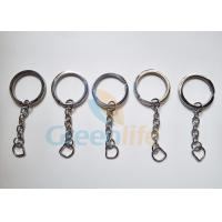 Quality Stainless Steel #304 Flat Split Key Ring Lanyard Accessories With Chain Outside Diameter 30MM for sale