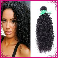 Quality Kinky Curl Indian Human Hair Extensions Natural Black Without Chemical for sale