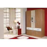Quality Bedroom Wooden Wardrobe Closet Furniture PVC Vinyl Front Sliding Opening E1 Environmental Protection Wardrobe for sale