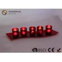 Set Of 5 Red Glass Candle Holder With Glass Plate And LED Tealight