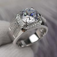 Buy cheap Round Cut Shape Moissanite Engagement Rings Super White Color For Male from wholesalers