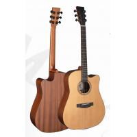 Quality Deluxe Cedar Solidwood Vintage Wood Acoustic Guitar with Daddario EXP16 String TP-AG58C for sale