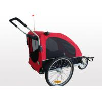 Quality Steel Frame with silver shining surface, Red flag for warning Bicycle Pet Trailer for sale