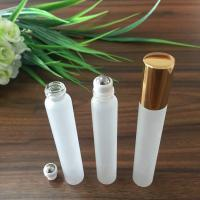 Quality 10ml glass frosted white  cosmetic roll bottle  with stainless steel Essential Oil Glass Bottle for sale