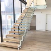 Quality Modern design steel structure staircase with side mounted glass balustrade for sale