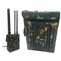 Quality Wide Band Backpack Mobile Signal Jammer 8 Fiberglass Epoxy Antennas For Military for sale