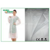 Quality Economical SMS Nonwoven Disposable Lab Coats with Knitted Collar and Velcro for sale