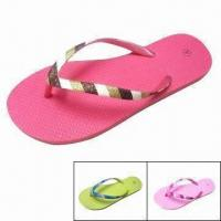 China Women's Flip Flops with Glitter Thongs/Straps/Upper, Customized Sizes and Logos are Accepted on sale