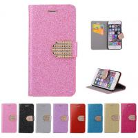 China Glitter PU leather wallet Case For iPhone 4 5s 6 plus 7 SAMSUNG galaxy s5 s4 S6 S7 NOTE 7 3 5 on sale