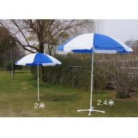 Quality Blue And White Outdoor Garden Umbrellas With Your Logo Printed , White Shaft for sale