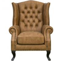 Quality Leisure Leather Upholstered Hotel Lobby Sofa Antique Style 24'' Arm Height for sale