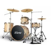 Quality Lacquered Champagne / Honey Amber Adult Drum Set 4 piece with Remo drumhead for sale