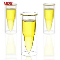 China Transparent glassware high borosilicate double wall bullet shot glass on sale