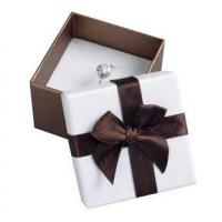 Quality Decorative Gift Paper Ring Box , Custom Printed Jewelry Boxes White Foam Inside for sale