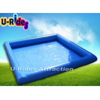 Quality Square Blue Inflatable Swimming Pools Above Ground Single Tube 6m x 6m x 0.65m for sale