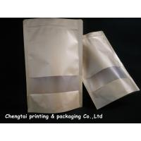 Quality Eco Friendly Kraft Paper Stand Up Pouch With Zipper / Semi Transparent Window for sale