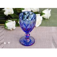 Quality Antique colored glass candle holders Iridescent Blue Stemware Embossed for sale