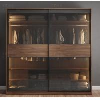Quality Glass Moving Door Wooden Wardrobe Closet With Lighting Simple Modern Style for sale