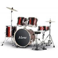 Quality Classic Red Complete Set 5 Piece Acoustic Kids / Adult Drum Set PVC Series for sale