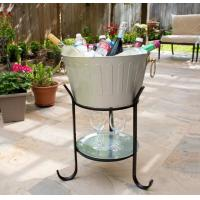 Quality galvanized natural color  round ice bucket party tub  beverage tub with stand and serving tray for sale
