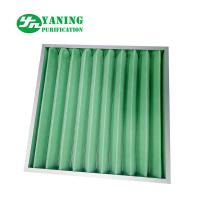 Quality Synthetic Fiber Material G4 Pleated Panel Filter 595x595x46mm Aluminum Frame for sale