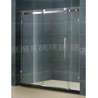 China Big Roller Straight Sliding Glass Shower Screen With 10MM Two Irregular Fixed Glass on sale