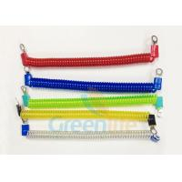 Quality Coloured Steel Wire Retractable Coil Cord With Eyelet Terminals / Protectors for sale