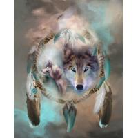 Quality Icon Diamond Embroidery Wolf Mosaic Crystal 5D Cross Stitch Full round Drill Diamond Painting DIY Sticker Decor Painting for sale