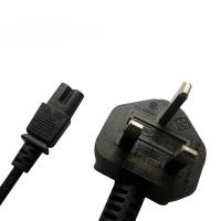 Quality UK C7 power input cord, BS/ASTA approved power cord with fused plug for sale