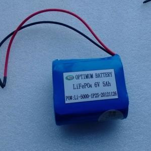 Quality Shenzhen Optimum 6V 5ah LiFePO4 Battery Pack for Lawn Light (OPT0605) for sale