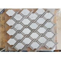 Quality White marble hexagon mosic tile 10mm Thickness For Bathroom / Kitchen for sale