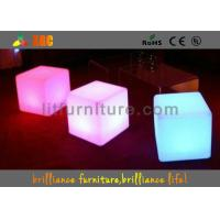 Quality 16 colors changeable LED Cube Chair / modern round bar stool with huge capacity rechargeable battery for sale