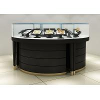 Quality Curve Wood Black Lighted Jewelry Display Case / Jewellery Display Cabinets for sale